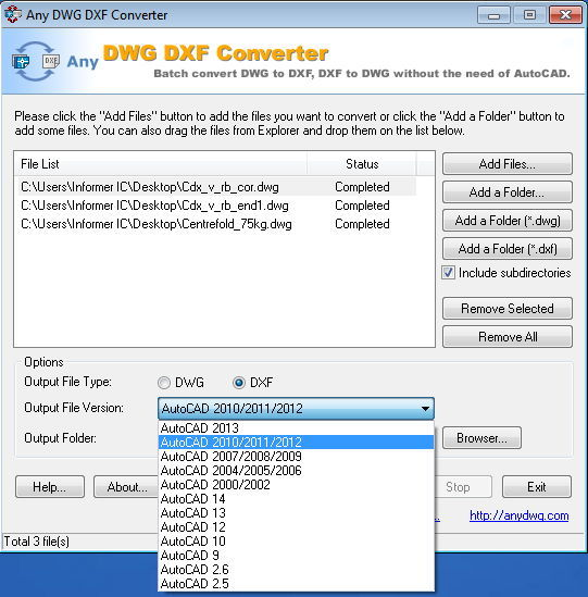 Output File Version Selection