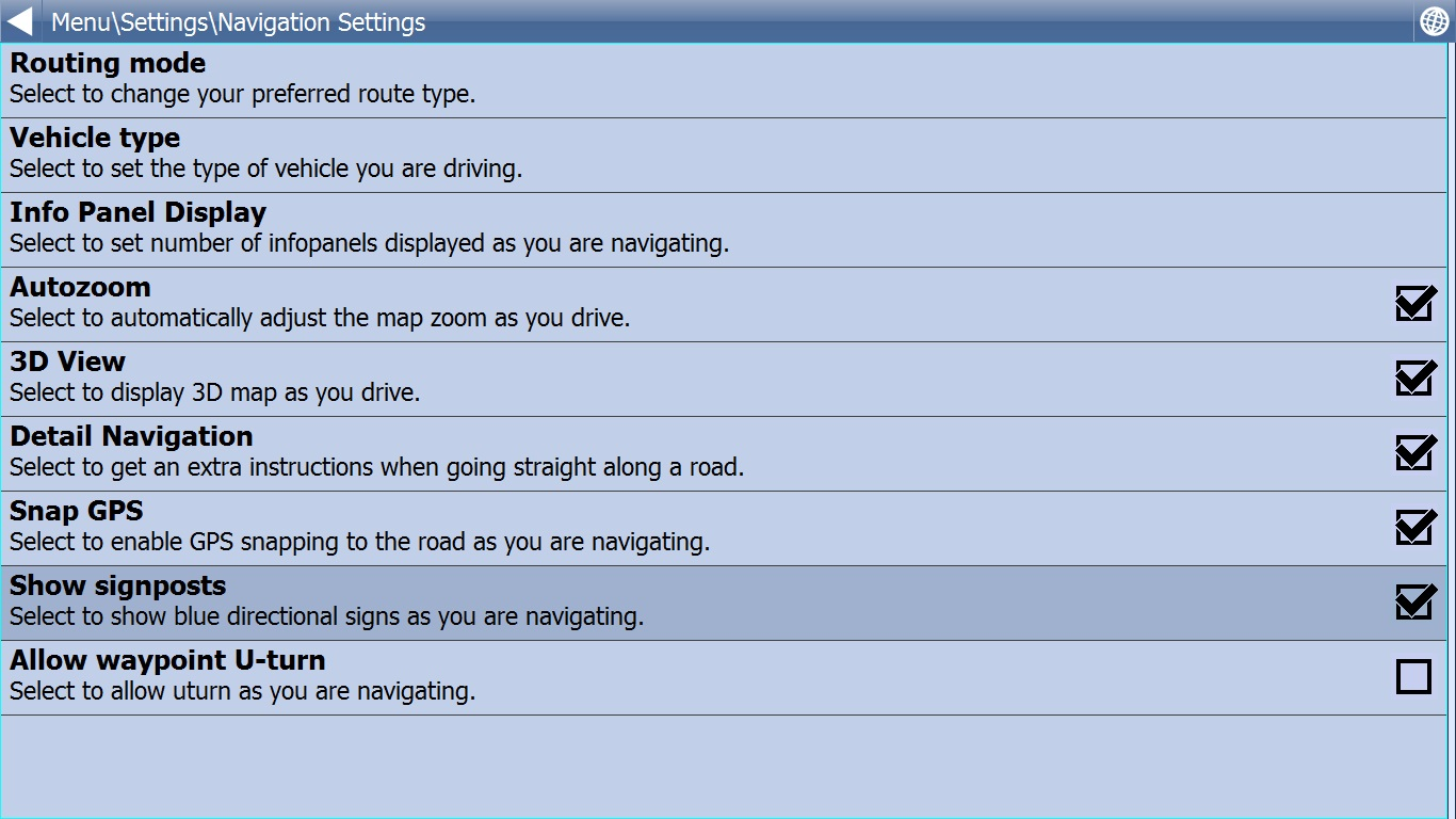 Navigation Settings