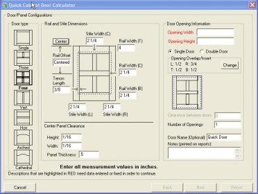 Cabinet Door Calculator 5.0 Download (Free trial) - WoodShopCalc50.exe