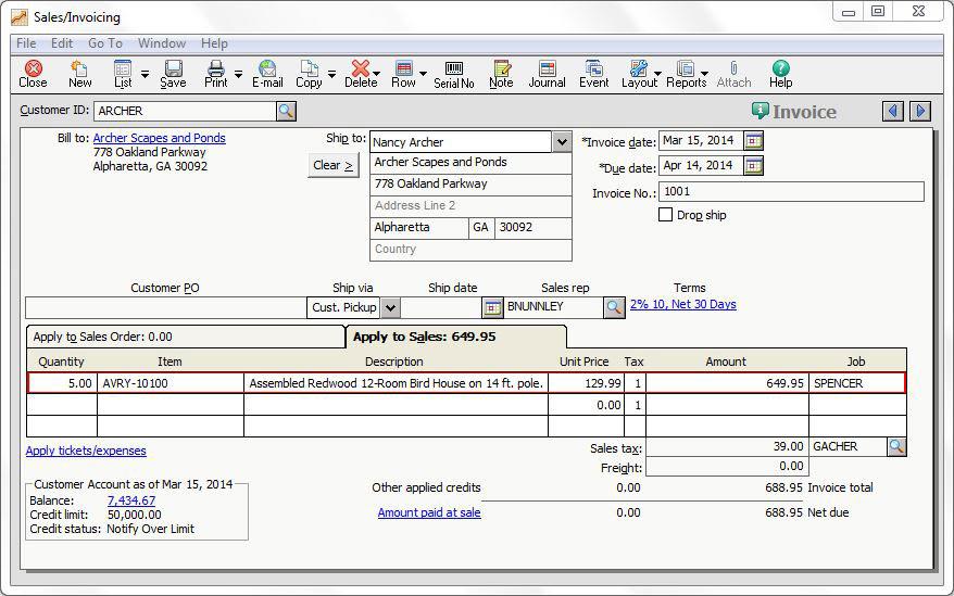 Sales/Invoicing