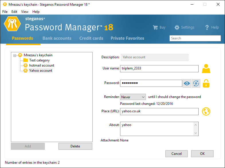 Editing Password Entry