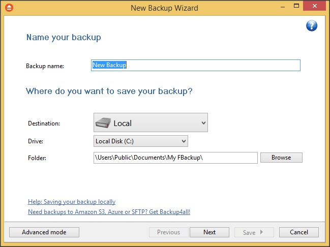 New Backup Wizard - Simple Mode