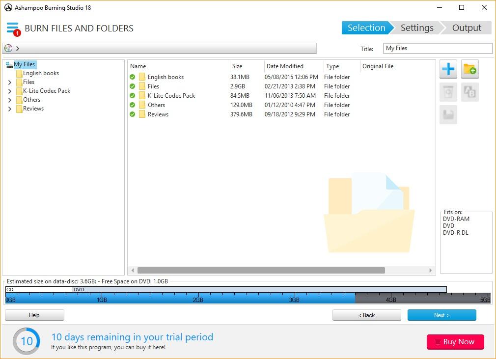 Burn Files and Folders