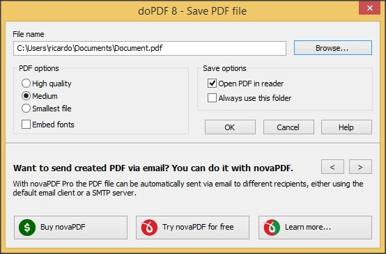 Save PDF File Options