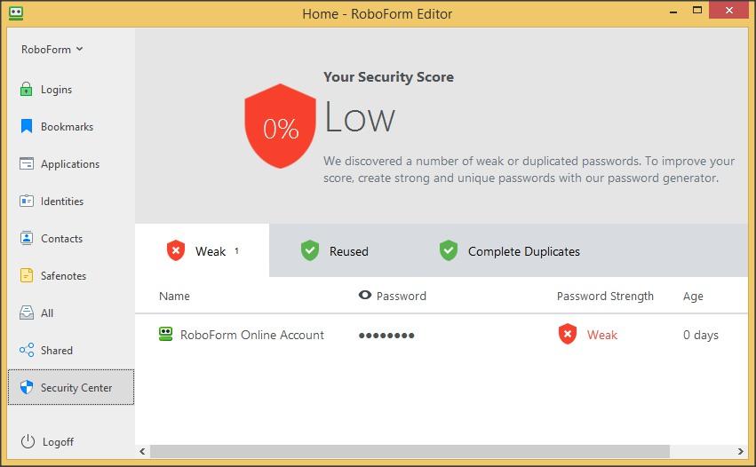 RoboForm Editor - Security Center