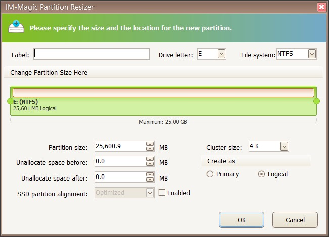 Partition Creation Window
