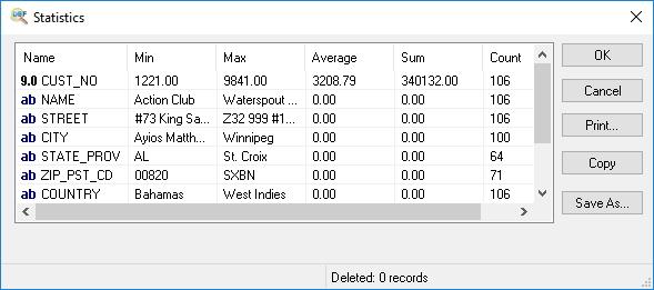 Statistics Window
