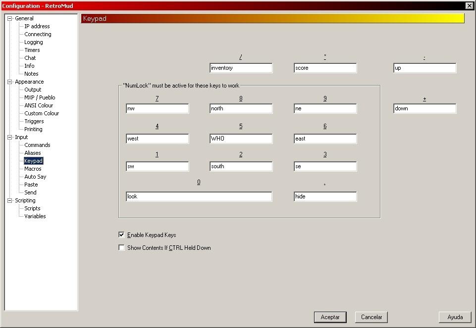 Keypad Configuration
