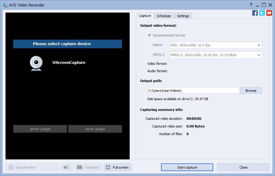 Video Recorder Window