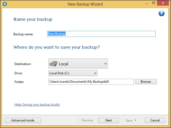 New Backup Wizard