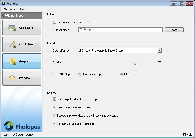 Output Settings