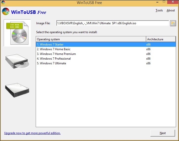 Image to USB Section
