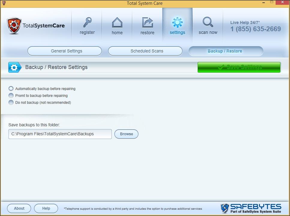Settings Tab - Backup Restore