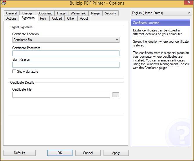 General Configuration Window - Signature Tab