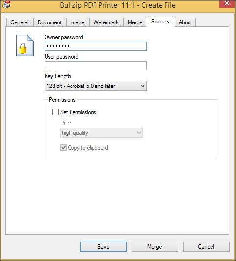 Virtual Printer Interface - Security Tab