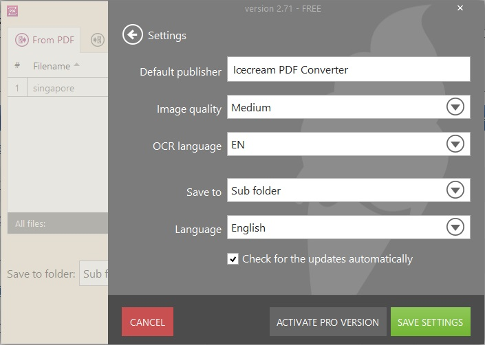 Convert From PDF Settings
