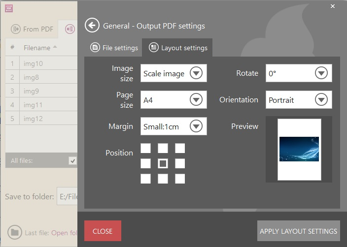 Image To PDF Settings