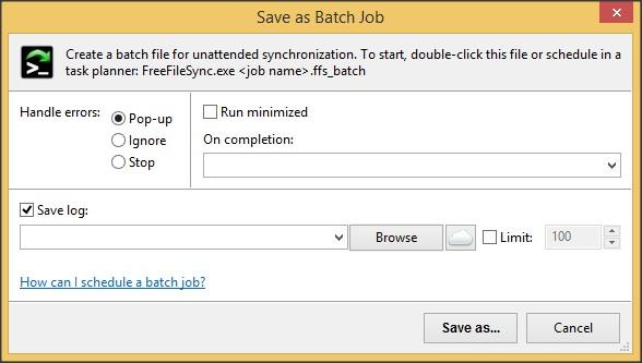 Save as Batch Job Dialog