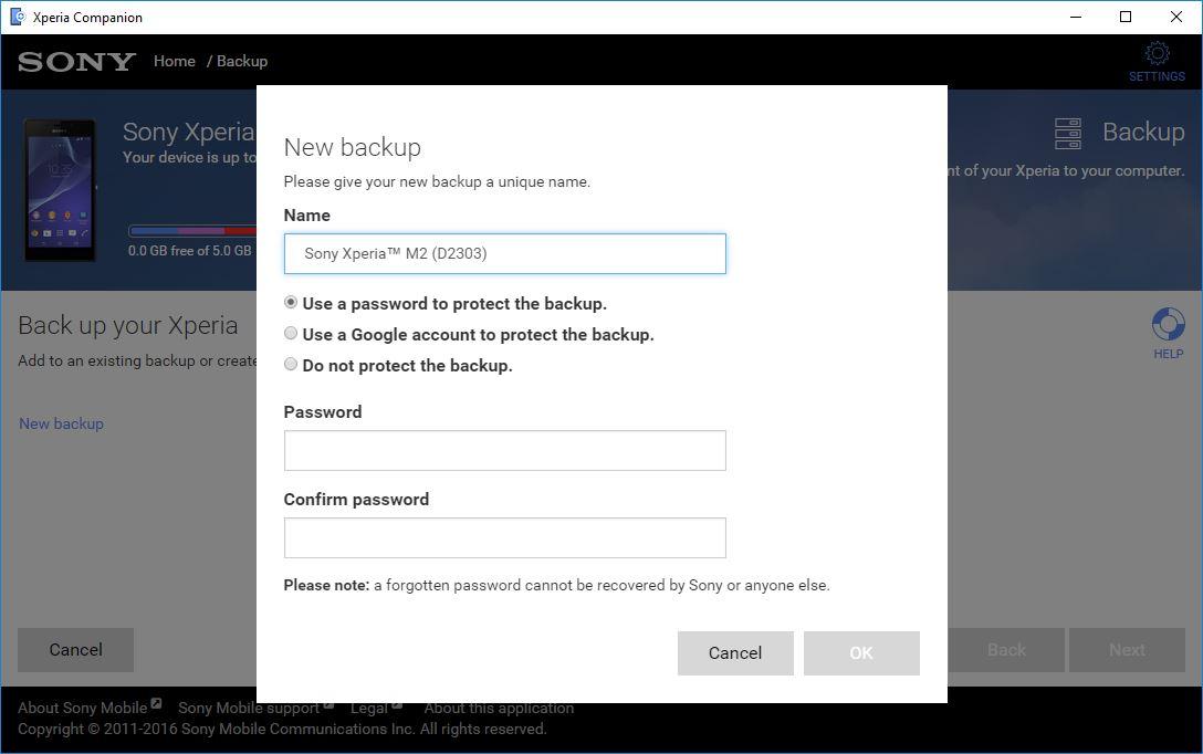 Creating New Backup