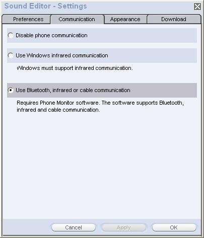 Settings - communication