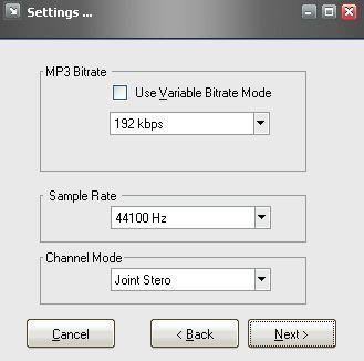 File settings window