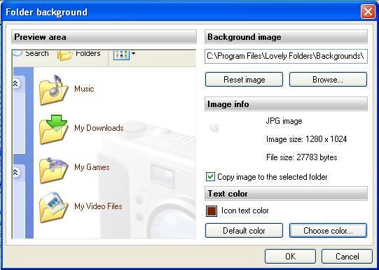 Using custom folder backgrounds