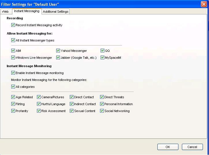 Instant Messaging menu