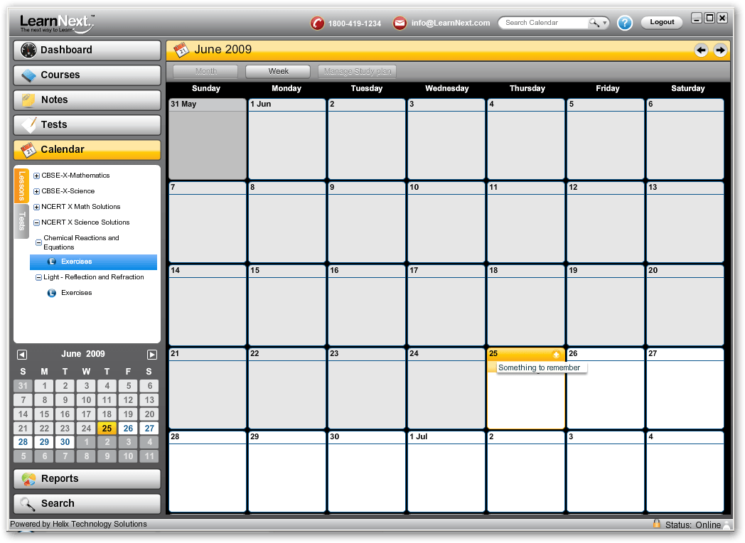 The calendar window