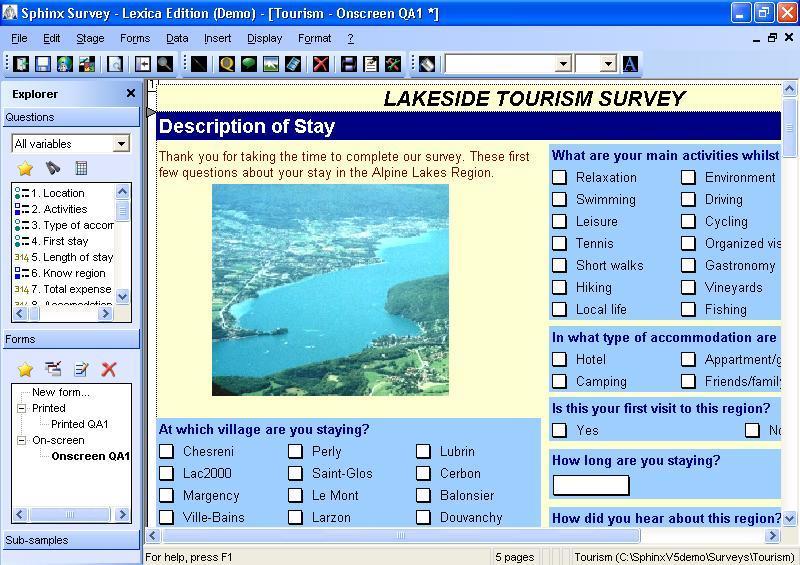 Tourism questionnaire
