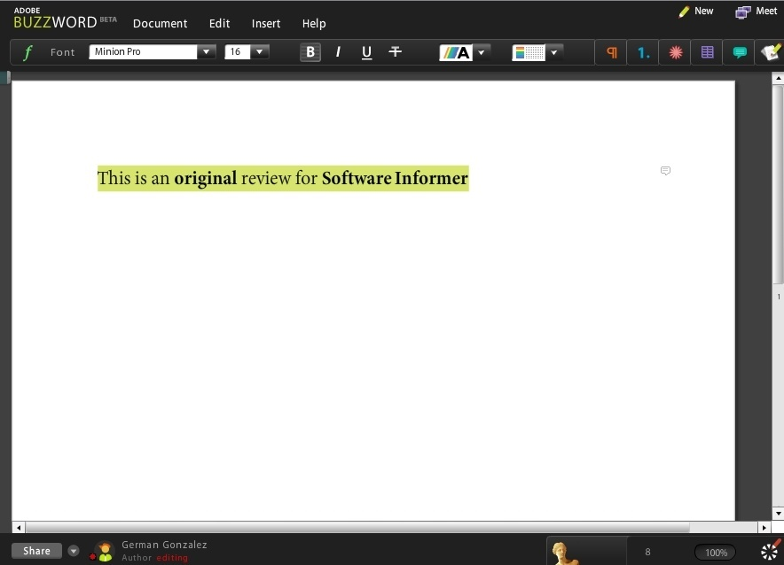 Writing a document online