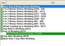 The wedding tasks.