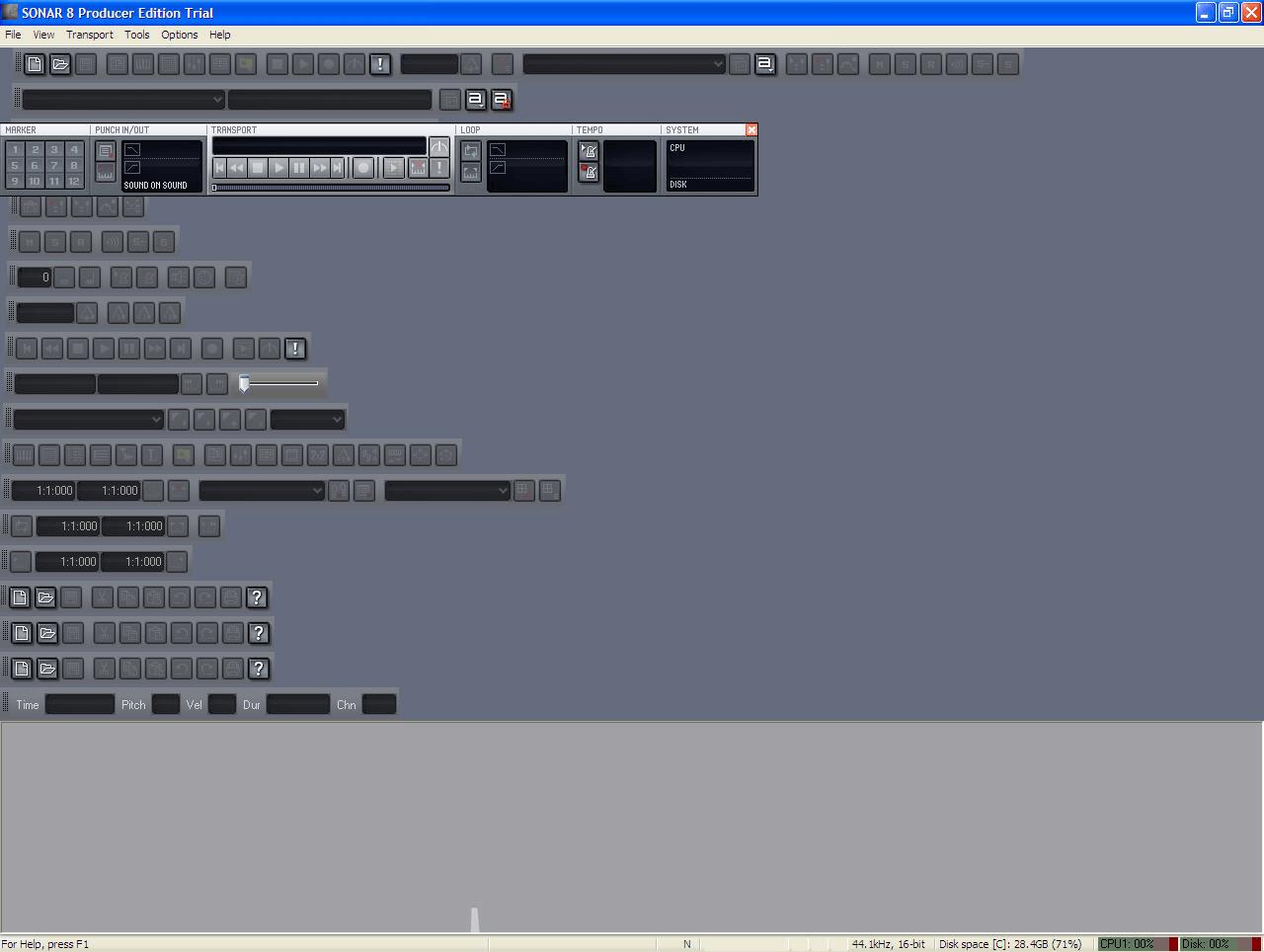 Sonar Main panel