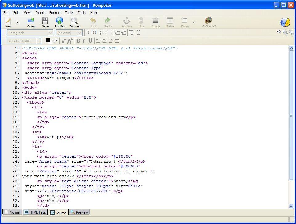 Editing HTM Code
