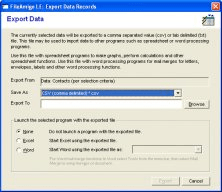 Export Data Records Screen
