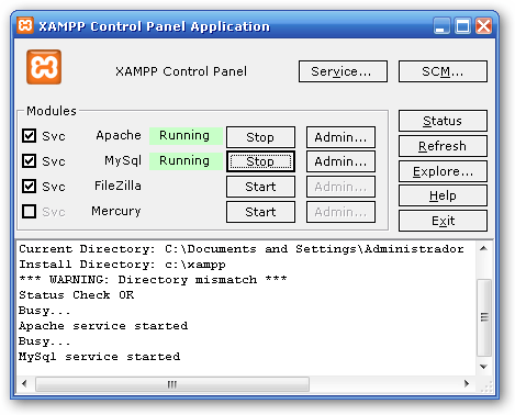 The XAMPP Control Panel