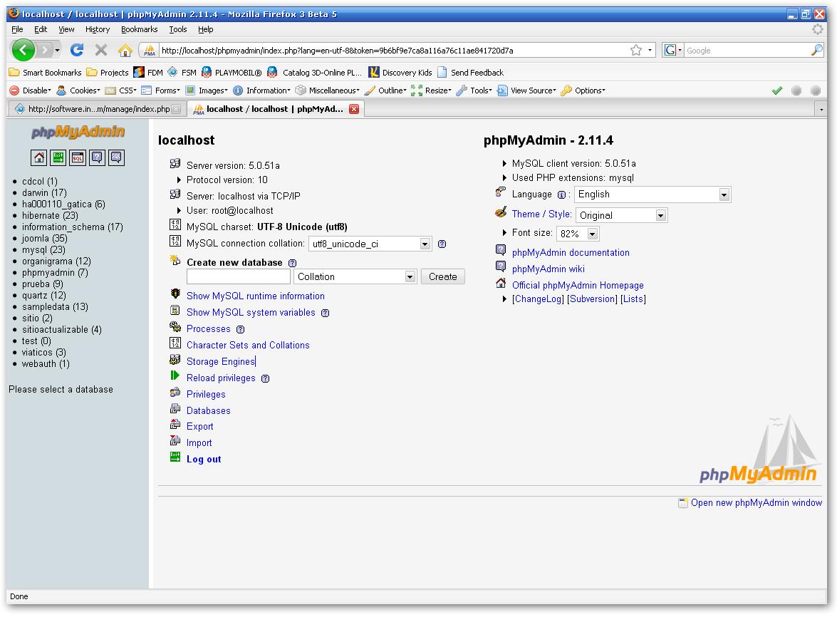 phpMyAdmin, the DBMS for MySQL included with XAMPP