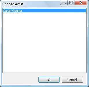 Choosing an artist from search results.