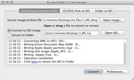 AnyToISO for Mac, Immediately create ISO image files on your