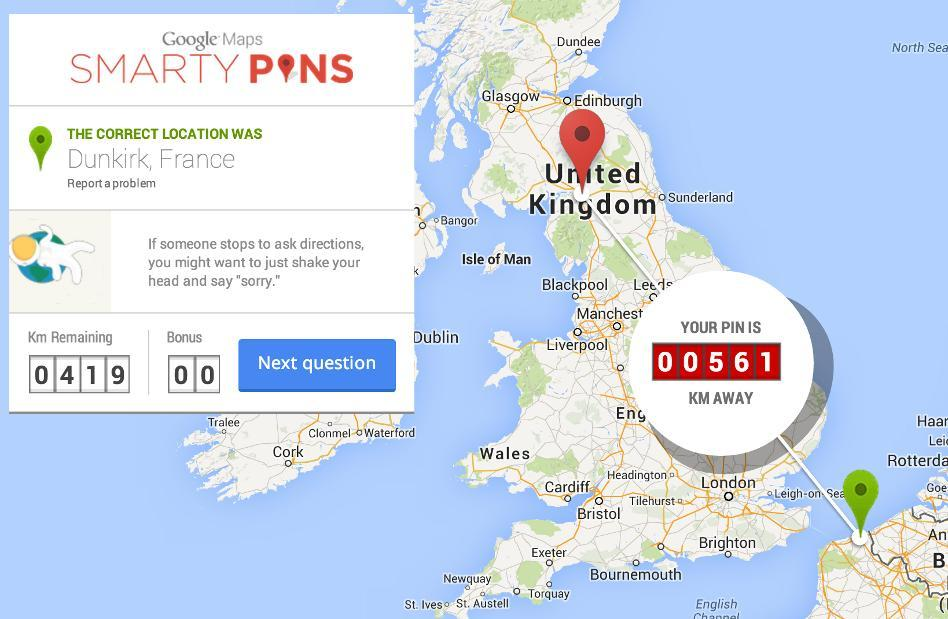 Smarty Pins: a Map Quiz Game by Google