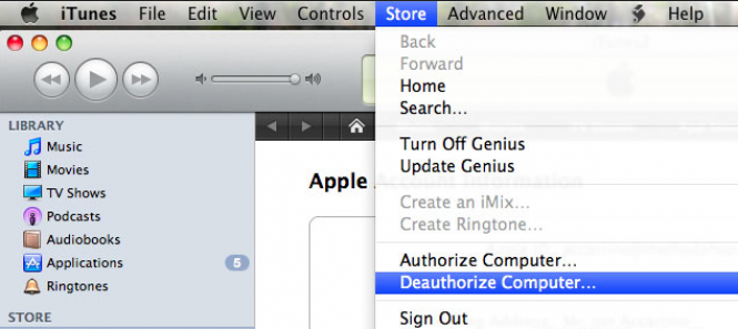 De-authorize iTunes