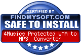 FindMySoft certifies that 4Musics Protected WMA to MP3 Converter is SAFE TO INSTALL