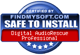 FindMySoft certifies that Digital AudioRescue Professional is SAFE TO INSTALL