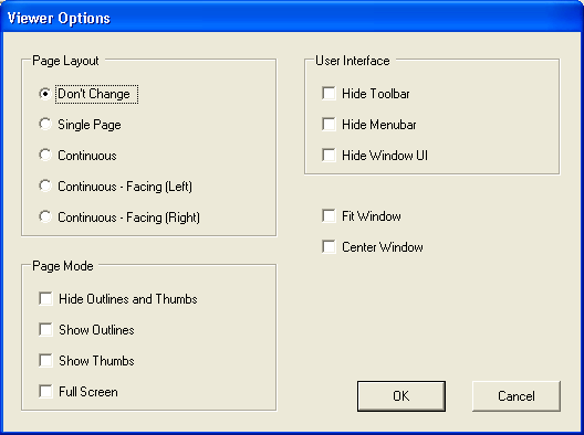 PDF Viewer Preferences Dialogue