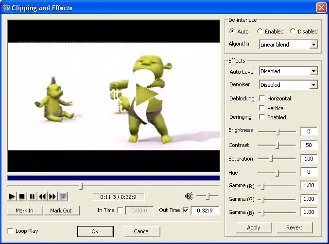 Clipping and Effects Dialog