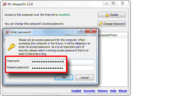 Set the computer access password.