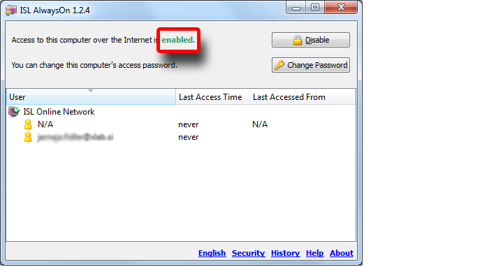 Access to your computer is enabled. You can access it now from anywhere anytime.