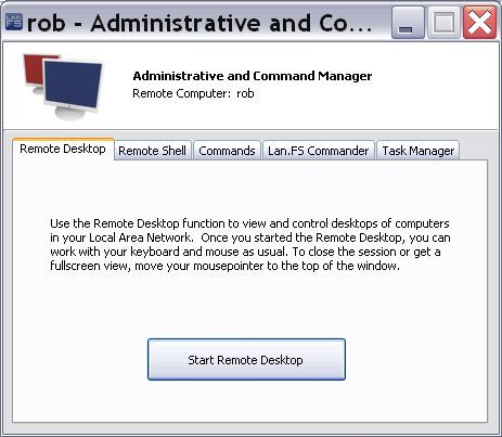 Administrative/Command / Remote Desktop tab