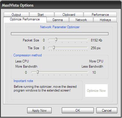 Optimize performance options