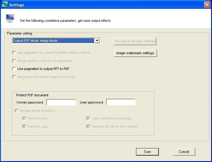 Output PDF Settings Dialog