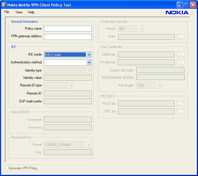 Nokia Mobile VPN Client Policy Tool